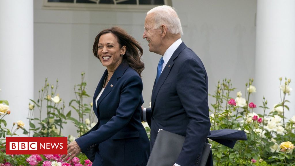 Covid: Biden hails 'great day' as he sheds mask in Oval Office