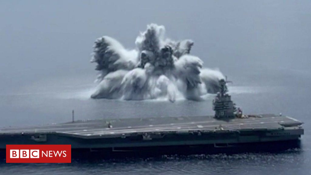 US Navy uses 40,000lb explosive to test warship in 'Full Ship Shock Trial'